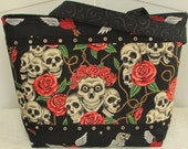 Skulls And Roses Large Tote Bag  Tattoo Biker Bag Purse Ready To Ship