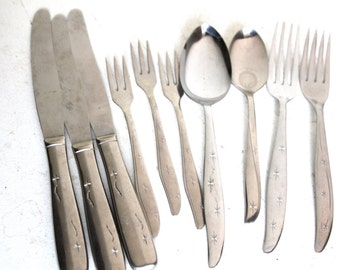 Atomic Stainless Flatware, Starbursts, Citation, Midcentury Modern, Retro Silverware, Atomic Kitchen,