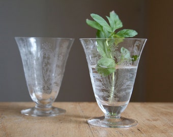 Etched Glasses, Optic Panel Sherry Glasses, Lily of the Valley, Edwardian Style, Juice Glasses, Bedside Glasses, Romantic Decor