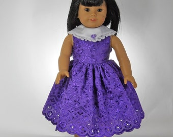 18 inch doll clothes Purple Tea-Length Embroidered Dress 07-07338