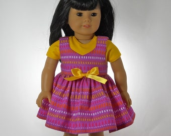 18 inch doll clothes, Purple Jumper with Yellow t-shirt, 07-0365