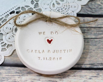We Do Ring dish Ring pillow alternative Ring bearer pillow alternative, Wedding ring bearer Ceramic ring holder