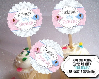 12 Cupcake Picks, Cupcake Topper Decorations, Baby Gender Reveal Party, Baby Shower, Baby Elephants, Pink, Blue, Polka Dots