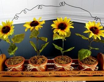 Sunflower's In Handmade Wood Carrier / Wood Crate Sunflowers / Window Sill Box / Summer Garden Box / Yellow White Orange Sunflowers / Garden