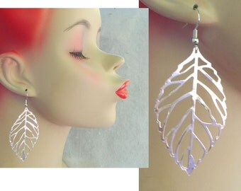 Silver Filigree Leaf Charm Dangle Earrings Handmade Jewelry Accessories Hook
