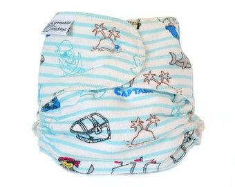 Cloth Diaper Fitted, One Size, Pirate, Flannel - Add Snaps, Hook and Loop, or Pins
