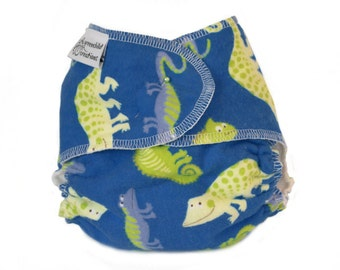 Cloth Diaper Fitted, One Size, Lizards, Flannel - Add Snaps, Hook and Loop, or Pins
