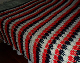 Crocheted Queen Afghan - Blanket - Throw - Coverlet - Bedspread - Gift ''TIER DROP'' in Red - White - Blue
