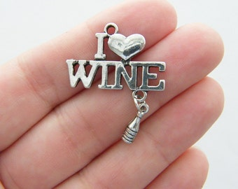 BULK 10 I love Wine and a bottle of wine charms antique silver tone FD36