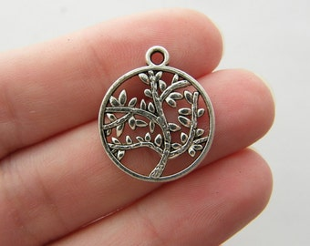BULK 50 Tree pendants antique silver tone T61