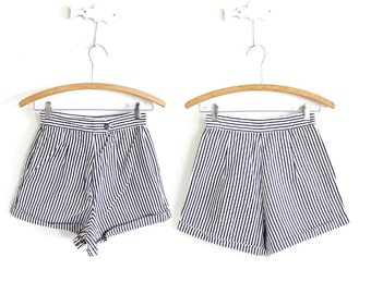 50s Shorts / 1950s High Waisted Shorts / 50s Striped Hot Pants Shorts