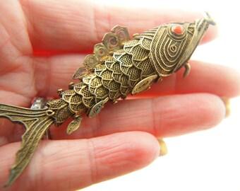 Fish Locket - Vermeil - Sterling Silver - Coral Vintage