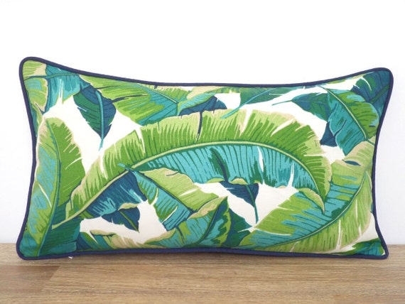 Outdoor palm leaf pillow case 24x14 for outdoor furniture, tropical leaves lumbar pillow cover indoor outdoor fabric, banana leaf cushion
