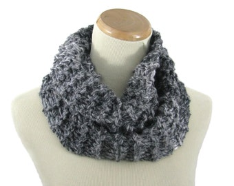 Hand Knit Cowl, Neck Warmer, Knit Scarf, Bulky Scarf, Circle Scarf, Infinity Scarf, Gray Cowl, Tweed Cowl, Gift Idea