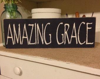 Amazing Grace, Primitive Sign, Primitive Decor, Rustic Decor, Wall Decor, Country Decor, Inspirational Sign, Christian Sign