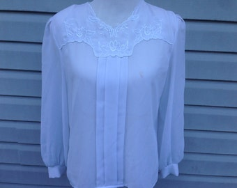 White Embroidered Long-sleeved Blouse
