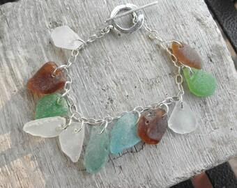 Pacific Sea Glass Charm Bracelet Washignton State Glass