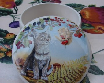 Grey Kitty and a Field In the Poppy Patch 4 Inch Ceramic Button /Jewelry/Paperclip Box