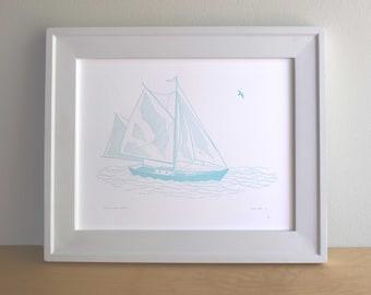 Sailboat, Figure I, Letterpress Nautical Art Print (Light Blue)
