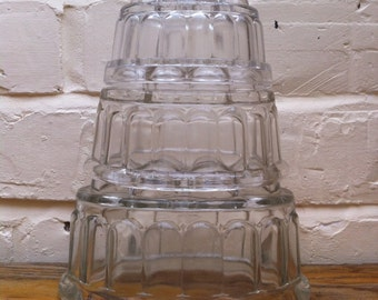 Trio of Vintage Pressed Glass Jelly Moulds