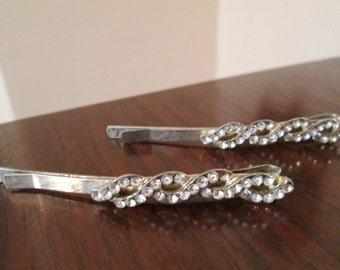 SALE vintage rhinestone silvertone hair pins, bobby pins, barrettes