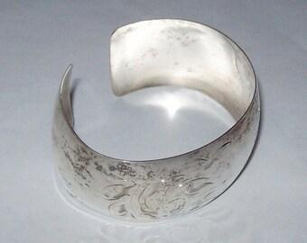 1960s SMIBO Sterling Cuff Bracelet Etched Flower Design 6 inch