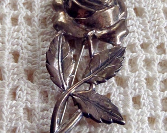 Vintage Brooch Sterling Silver Rose