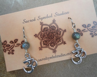 Aum Earrings  Labradorite Om Earrings Yoga Earrings Luminescent Magick Conscious Psychic New Age Metaphysical  Protective Energy  Magical