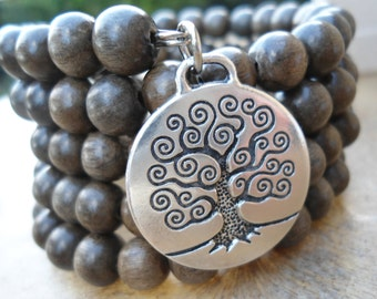 Tree of Life 108 Bead Mala Bracelet Pagan Prayer Beads  Pagan Wrap Bracelet Grey Wood Mala Bracelet  Tree of Life Charm Natural Grey Wood