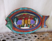 Vintage Mexican Tlaquepaque Folk Art Painted Clay Pottery Fish Shaped Wall Hanging Plate/Plaque Church Wedding & Smiling Sun Scene ~Red Ware