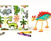 Dinos Deluxe Crayon Wallet, Ready to ship, Crayon organizer, Children's coloring toy, Art wallet, Holiday travel toy