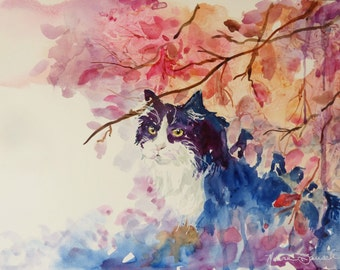 Original Watercolor Cat Painting by Maure Bausch