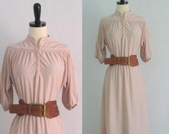 Vintage 1970s Dress 70s Dress Boho Dress Womens Dresses 1970s Clothing Pink Blush Dress Womens Size Small