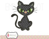 Black cat applique embroidery design. Cute cat applique purrfect for halloween, 4 sizes black cat Halloween embroidery