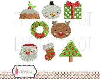 Christmas machine embroidery design set. Two sizes. Fun Christmas embroidery for a festive touch. Great mini embroidery for small spots.