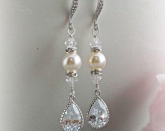 Wedding earrings Bridesmaid Gift Bridal Jewelry Bridesmaid long dangle earrings CZ teardrop Swarovski pearls crystals Maid of honor gift