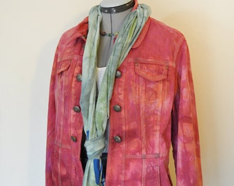 Red XL Denim Jacket - Orange Cherry Red Hand Dyed Upcycled DressBarn Distressed Denim Blazer Jacket - Adult Womens Extra Large (44 chest)