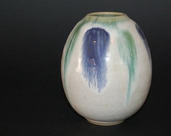 Ceramic Vase, Ceramic and Pottery Vase, Green and Blue, Blue and White, Flower Vase