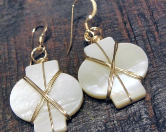 Tiffany, 14K Gold Filled and Mother of Pearl earrings, ThePurpleLilyDesigns