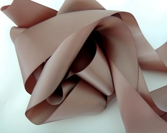 "Beige Tan Latte Java  2"" 50mm Wide Silky Satin Ribbon Wedding Gown Sash"
