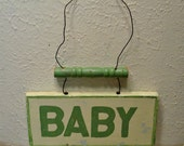 Vintage Wood Baby Sign - Hand Painted - Rustic Sign - Baby Shower - Baby Announcement - Primitive Home Decor