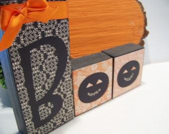 Wooden Halloween BOO Fall Decorative Blocks or Shelf Sitters for Autumn Decor.