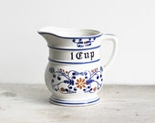 Vintage Ceramic Pitcher Cup Heritage Royal Sealy Japan Blue Onion Penn Dutch