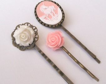 Pink Unicorn Bobby Pin Set, Pink Bobby Pins, White Bobby Pins, White Rose, Pink Rose, Unicorn Accessories