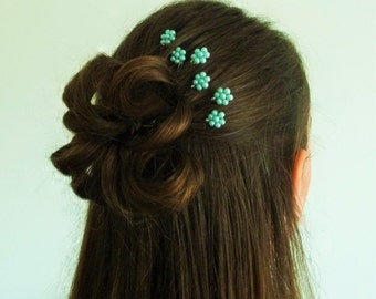 Aqua Pearl Florettes - Set of 6 Bobby Pins