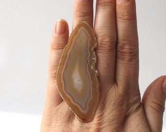 oversized yellow tan agate ring osfa statement cocktail geode fashion style unique large xl big adjustable band white crystal ameba neutral