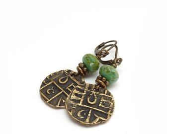 Brass Coin Earrings - Bhutan Tribal Replica Coins - Turquoise Picasso Glass Beads - Boho Hippie Earrings