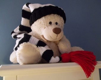 Long Adult, Kids Stocking Cap, Black White 36 inch Long Stocking Cap, Tassel or PomPom Color Option Ready To Ship
