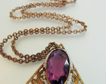 Pretty Vintage Faceted Amethyst Glass Pendant Necklace