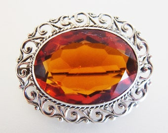 Vintage Oval Faceted Amber Glass Silver Plate Brooch Pin
